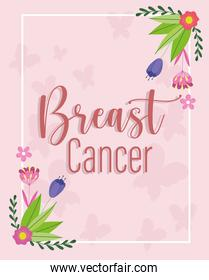 Breast cancer text flowers and butterflies background card