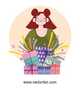 young woman with gifts party celebration cartoon