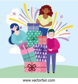 happy people stacked of gifts celebration festive cartoon