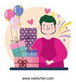 young man stack gifts balloons celebration cartoon