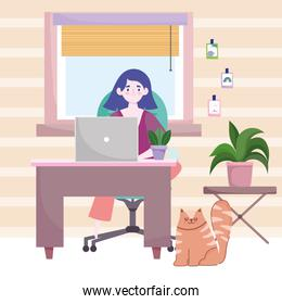 Character female sitting at desk in room home office