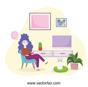 woman sitting with table computer home office