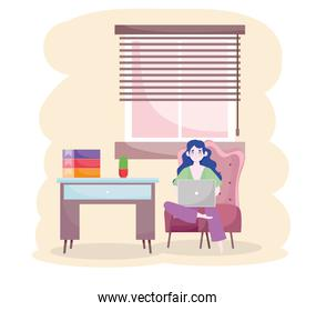 woman with laptop sitting on chair home office