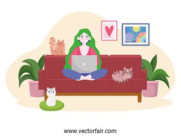 woman on sofa working with laptop and cats home office