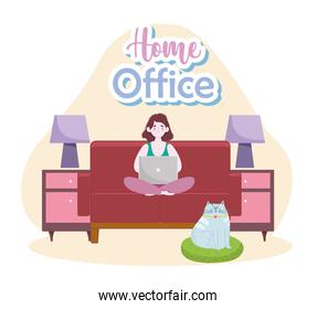 woman sitting on the sofa working on the laptop home office