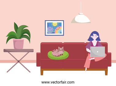 woman working from home, student or freelancer home office