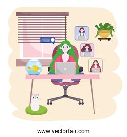 people working online, meeting conference at home home office