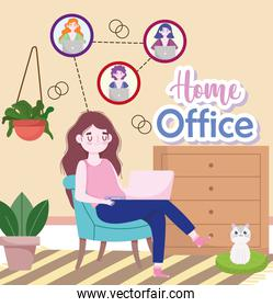 people working talking by internet video conference meeting home office