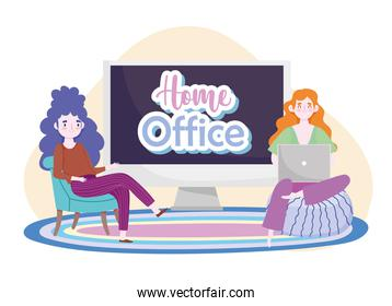 cartoon character working from home with laptop and computer home office