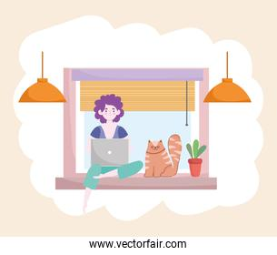 woman working with laptop and cat sitting on window home office