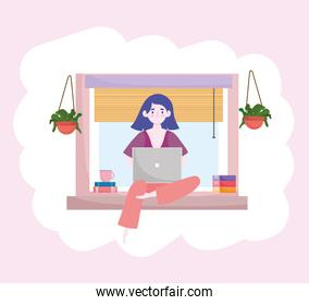 woman working with laptop books sitting on window home office home office