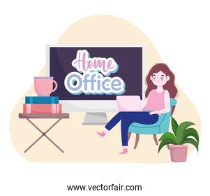 young woman using laptop working with books and coffee cup home office