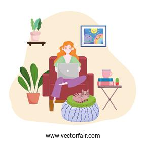 woman is doing homework on laptop sitting chair home office home office