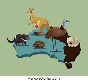 map of Australia with cute animals wildlife