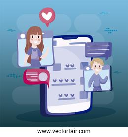boy and girl chatting connected social media cartoon