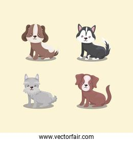 pet set icons, different dogs puppies sitting animals