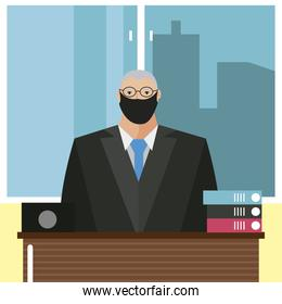 business man with mask office workspace desk laptop and books