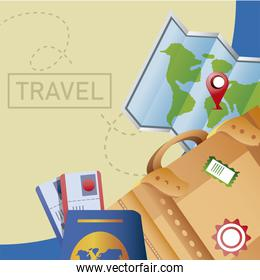 travel suitcase map passport tickets map vacations tourism