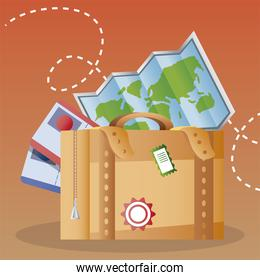 travel suitcase map and tickets vacations tourism