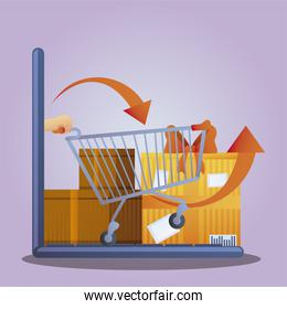 online shopping laptop cart delivery box gift