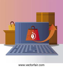 online shopping laptop delivery boxes bag