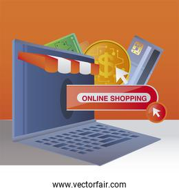online shopping ecommerce, mobile payment money bank card