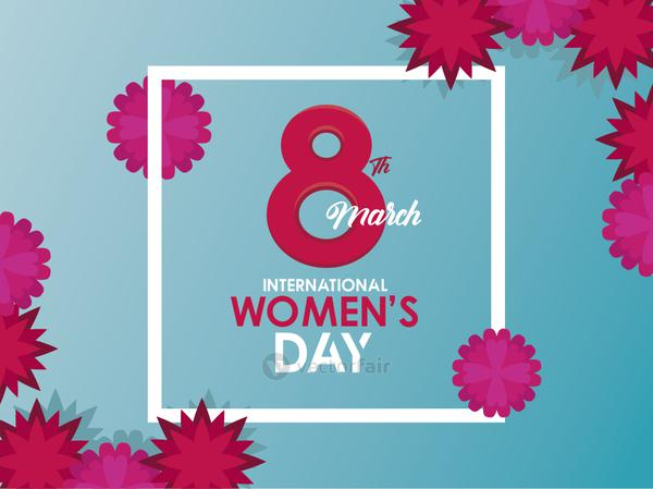 international womens day celebration poster with number eight and flowers