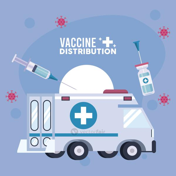 vaccine distribution logistics theme with vial and syringe in ambulance