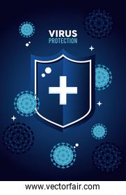 virus protection shield with cross and covid-19 particles color blue