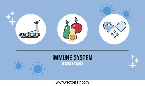 inmune system booster with healthy food and capsule