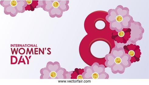 international womens day celebration poster with lettering and flowers