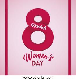 international womens day celebration poster with number eight and lettering