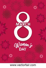 international womens day celebration poster with number eight and red flowers