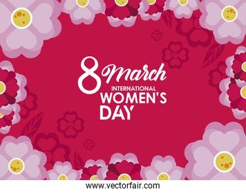 international womens day celebration poster with lilac flowers in pink background