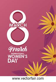 international womens day celebration poster with number eight and yellow flowers