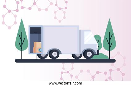 vaccine distribution logistics theme with boxes packing in truck