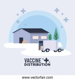 vaccine distribution logistics theme with warehouse and truck