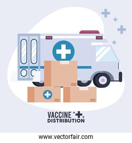 vaccine distribution logistics theme with boxes and ambulance