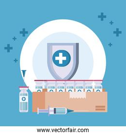 vaccine distribution logistics theme with shield and vials in box carton