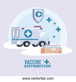 vaccine distribution logistics theme with ambulance and vials in box carton