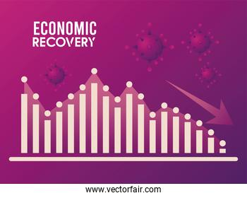 economic recovery for covid19 poster with bars and arrow down
