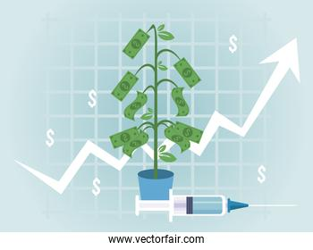 economic recovery for covid19 poster with bills plant and vaccine syringe