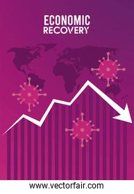 economic recovery for covid19 poster with virus particles and arrow down in earth maps