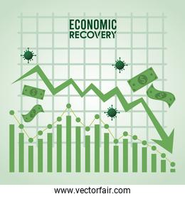 economic recovery for covid19 poster with bills dollars and virus particles in statistics graphic