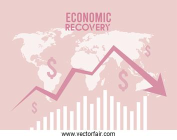 economic recovery statistics arrow with earth planet