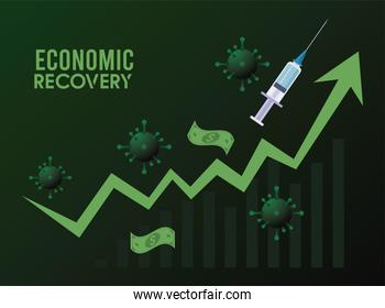 economic recovery for covid19 poster with bills dollars and vaccine syringe in arrow up