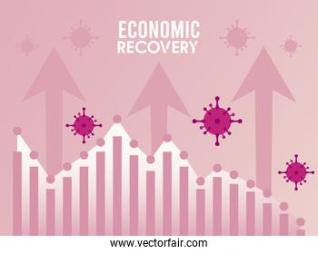 economic recovery for covid19 poster with arrows and virus particles in statistics bars