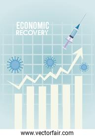 economic recovery for covid19 poster with vaccine syringe and virus particles in statistics