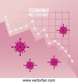 economic recovery for covid19 poster with virus particles in statistics graphic