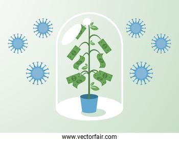 economic recovery for covid19 poster with bills plant in dome shield and virus particles